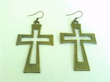 Large bronze hollow cross earrings
